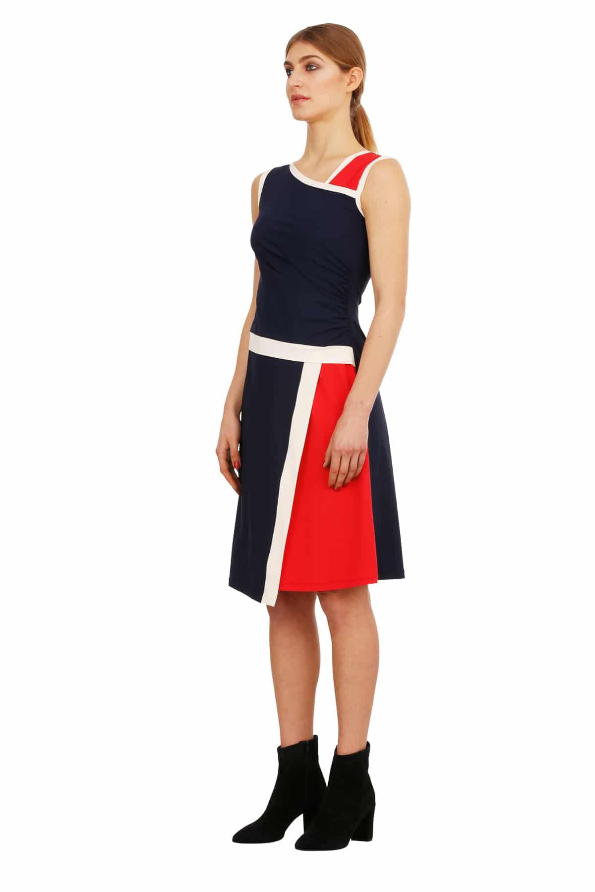 Jerseykleid Odrey blau-rot-creme_ST