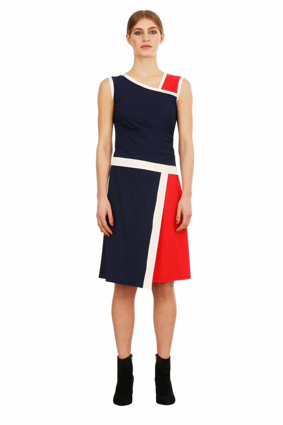 Jerseykleid Odrey blau-rot-creme_VT